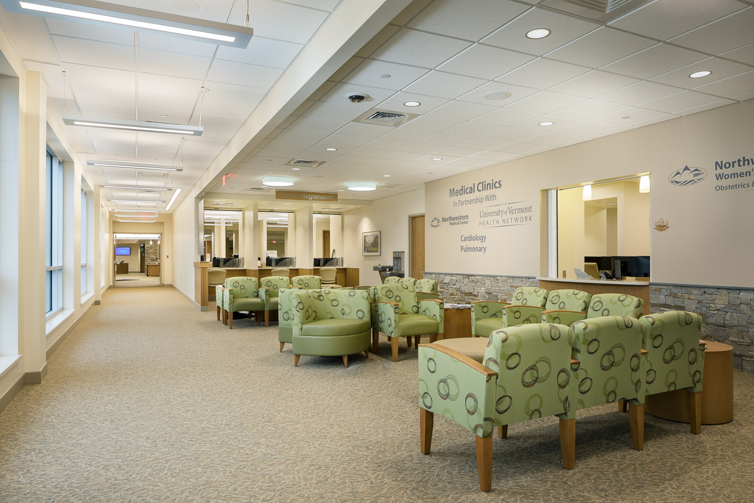 An interior architecture photo of the waiting area in the new Northwestern Medical Center Clinics building in St. Albans Vermont by Studio SB