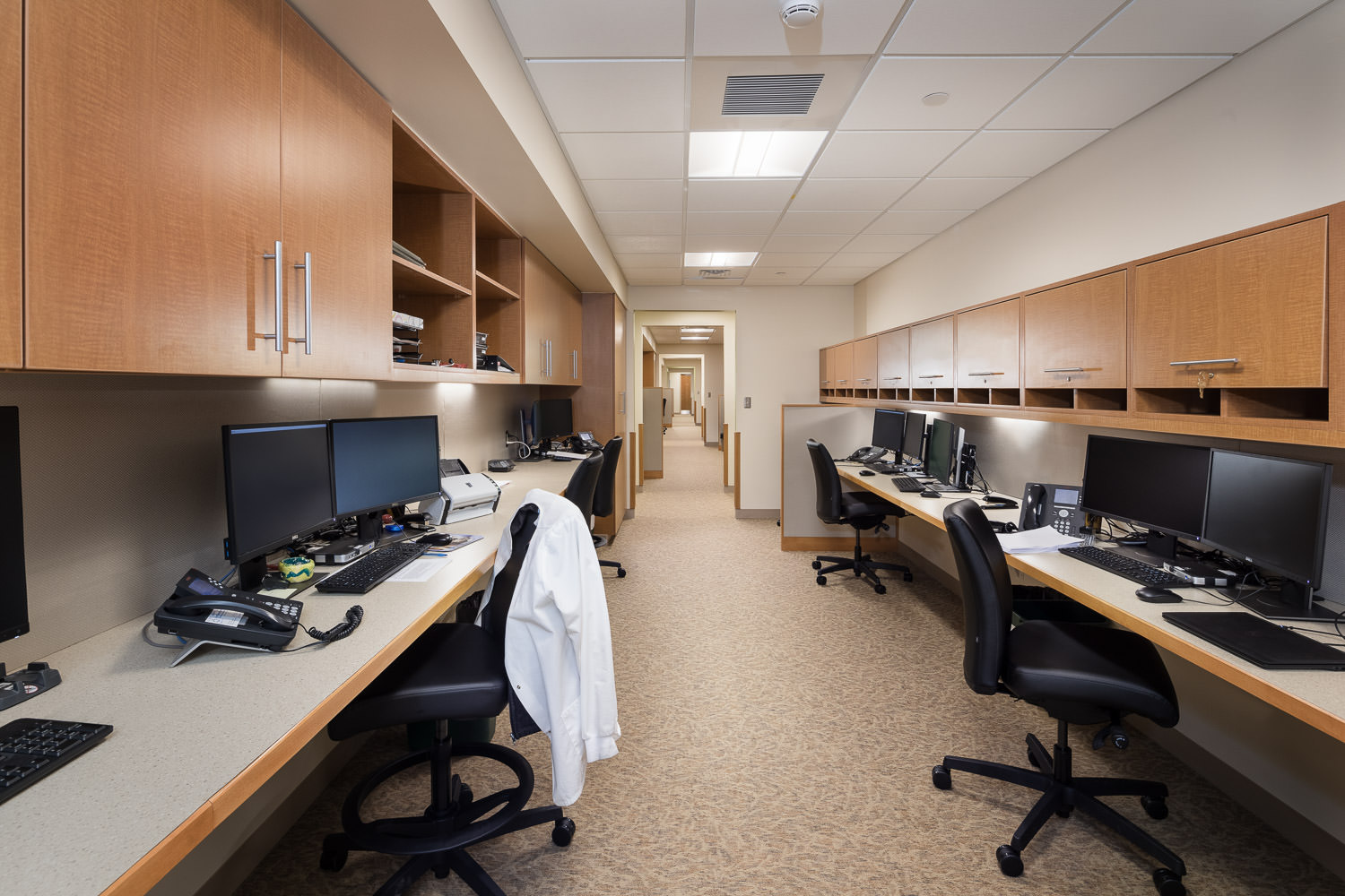 A photo of a staff work area in the new Northwestern Medical Center Clinics building in St. Albans Vermont by Studio SB