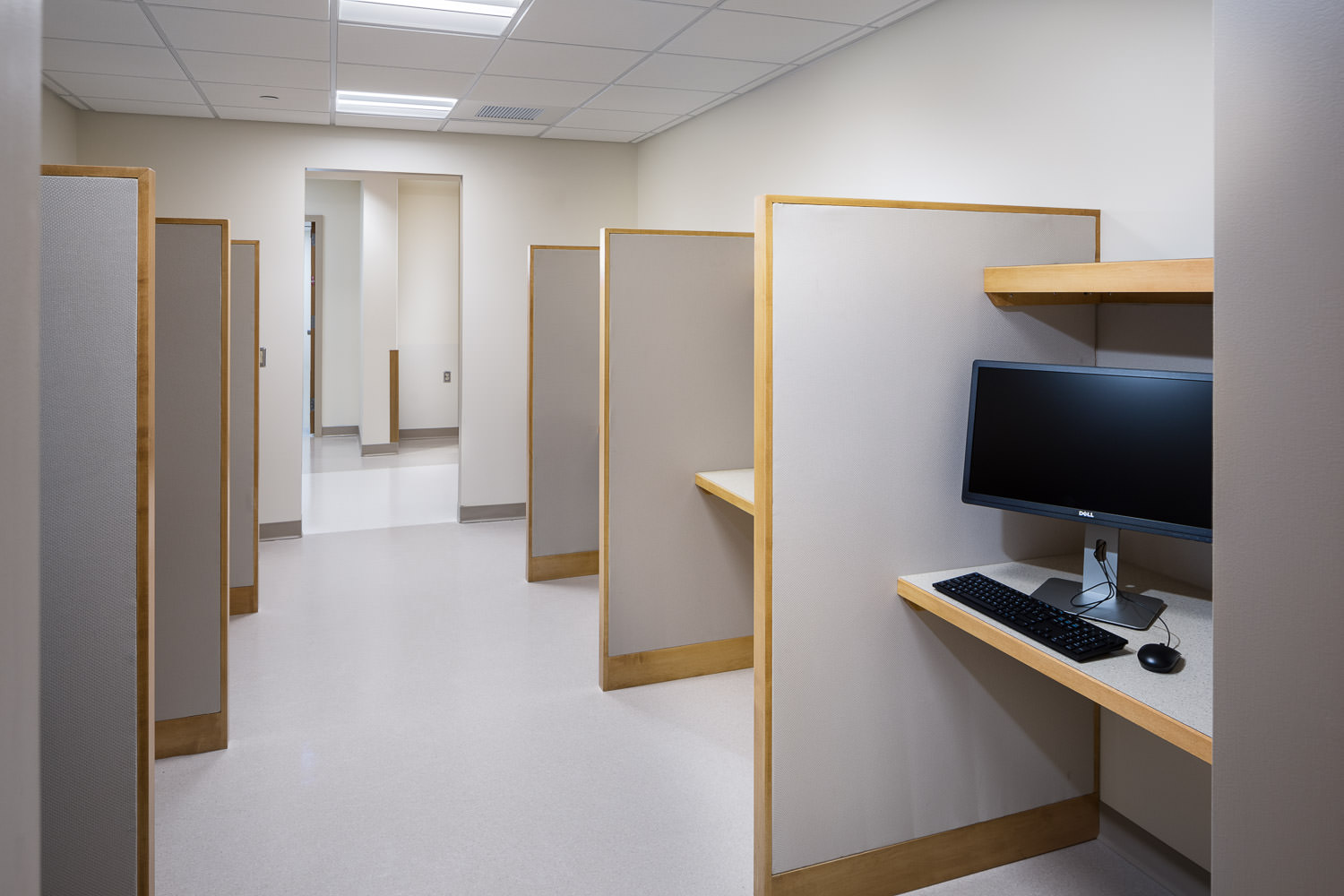 Staff work area in Northwestern Medical Center's Inpatient Progressive Care Unit in St. Albans Vermont constructed in 2017 photographed by Stina Booth of Studio SB.