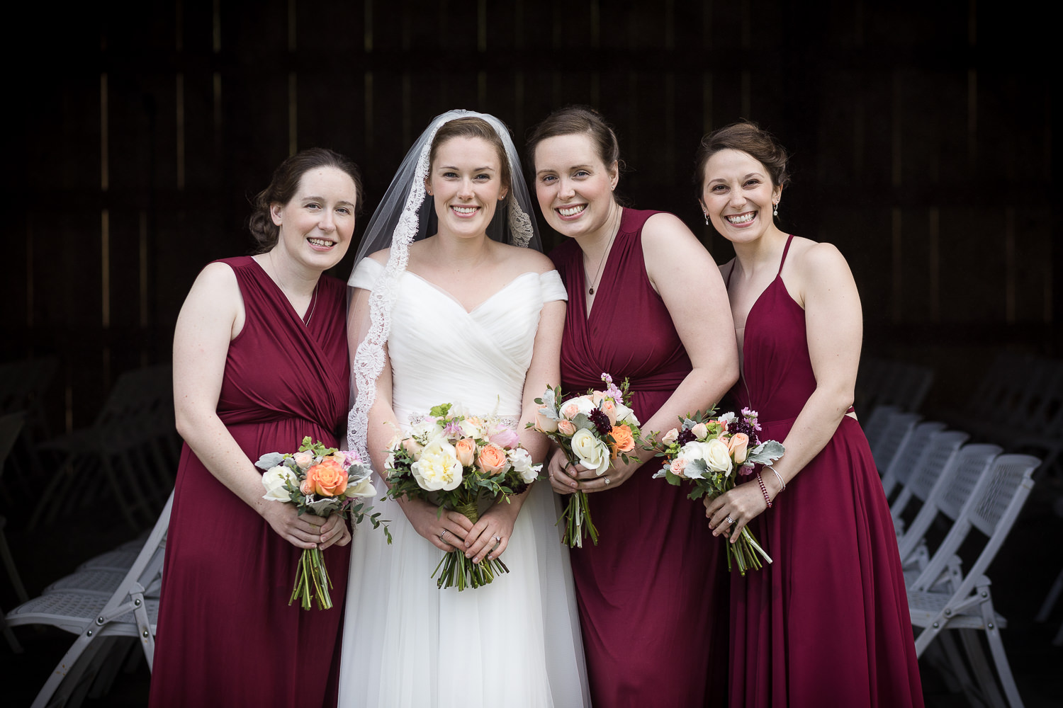 A portrait of the bridesmaids a the Jay Peak Resort by photographer Stina Booth
