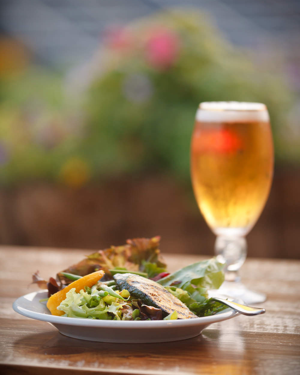 A photo of chicken salad paired with a lager with a view of the Sugarbush Resort ski mountain by photographer Stina Booth