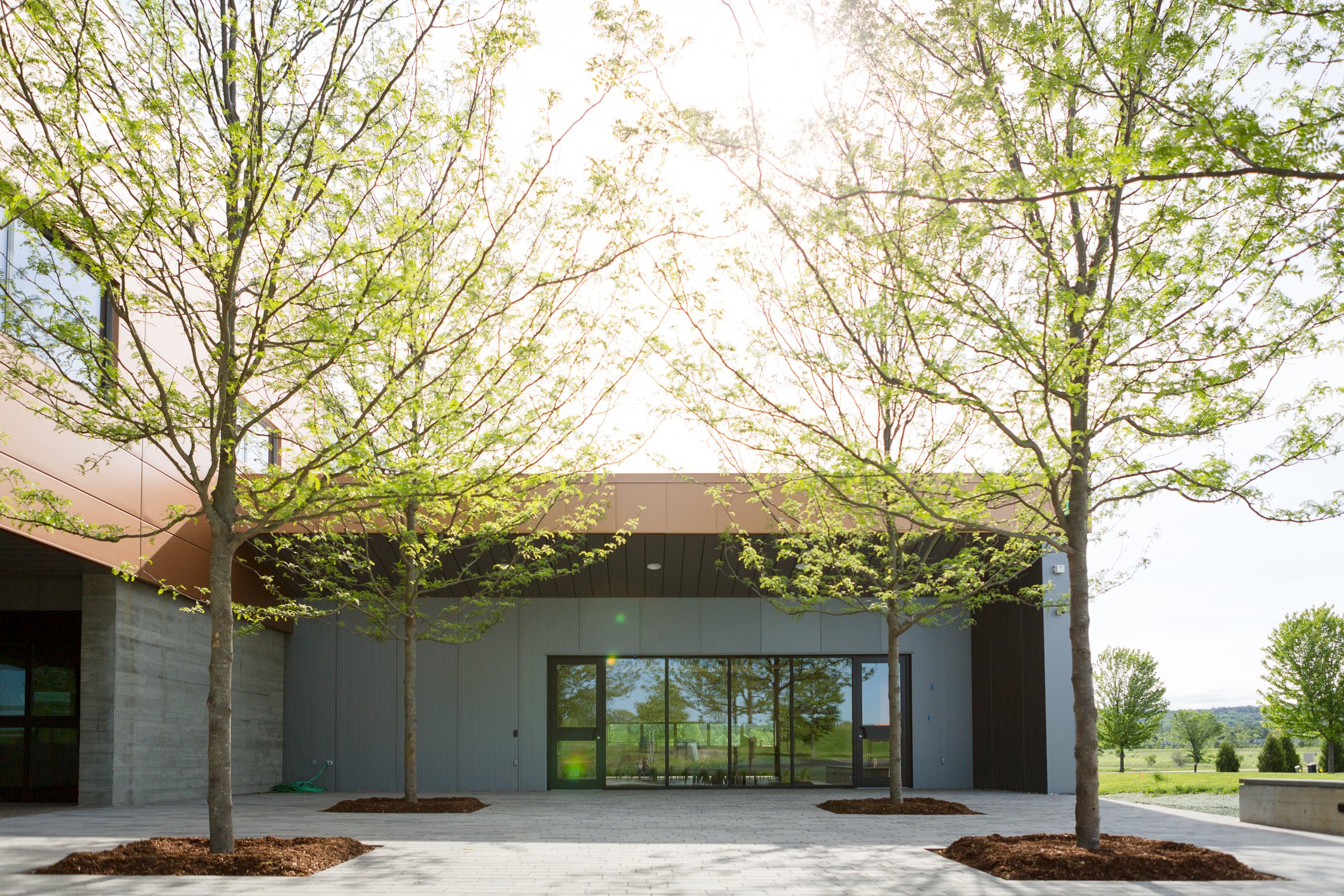 Photo of the exterior courtyard in Logic Supply building addition for Neagley & Chase Construction Company by Vermont architecture photographer Stina Booth of Studio SB.