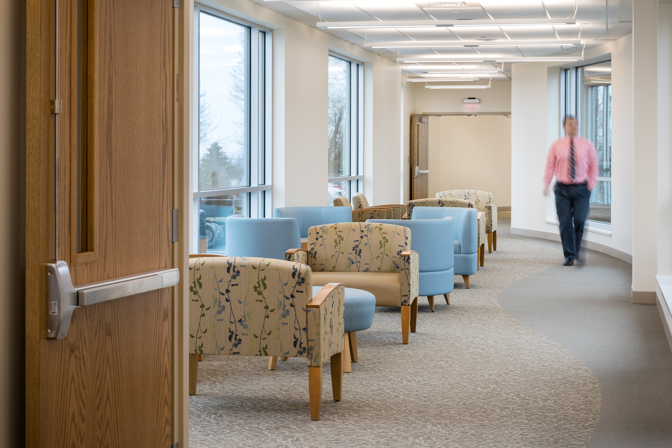 View of the connecting corridor in Northwestern Medical Center in St. Albans by Vermont photographer Stina Booth