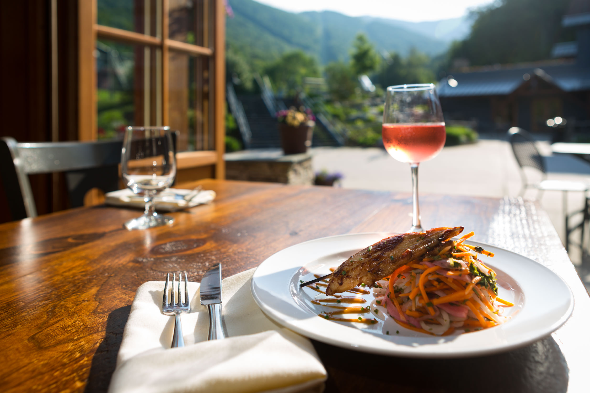 A photo of seared chicken breast sitting on a bed of fresh veggies and paired with a glass of Rose with a view of the Sugarbush Resort ski mountain by photographer Stina Booth