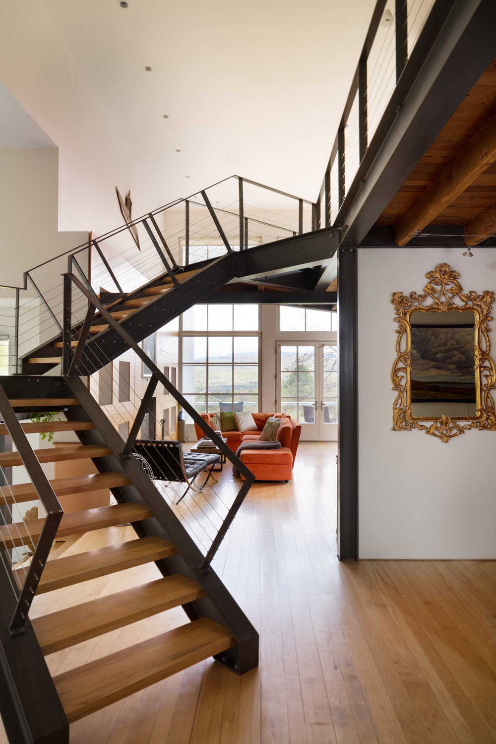 An industrial steel interior stairwell photographed by Vermont professional photographer Stina Booth