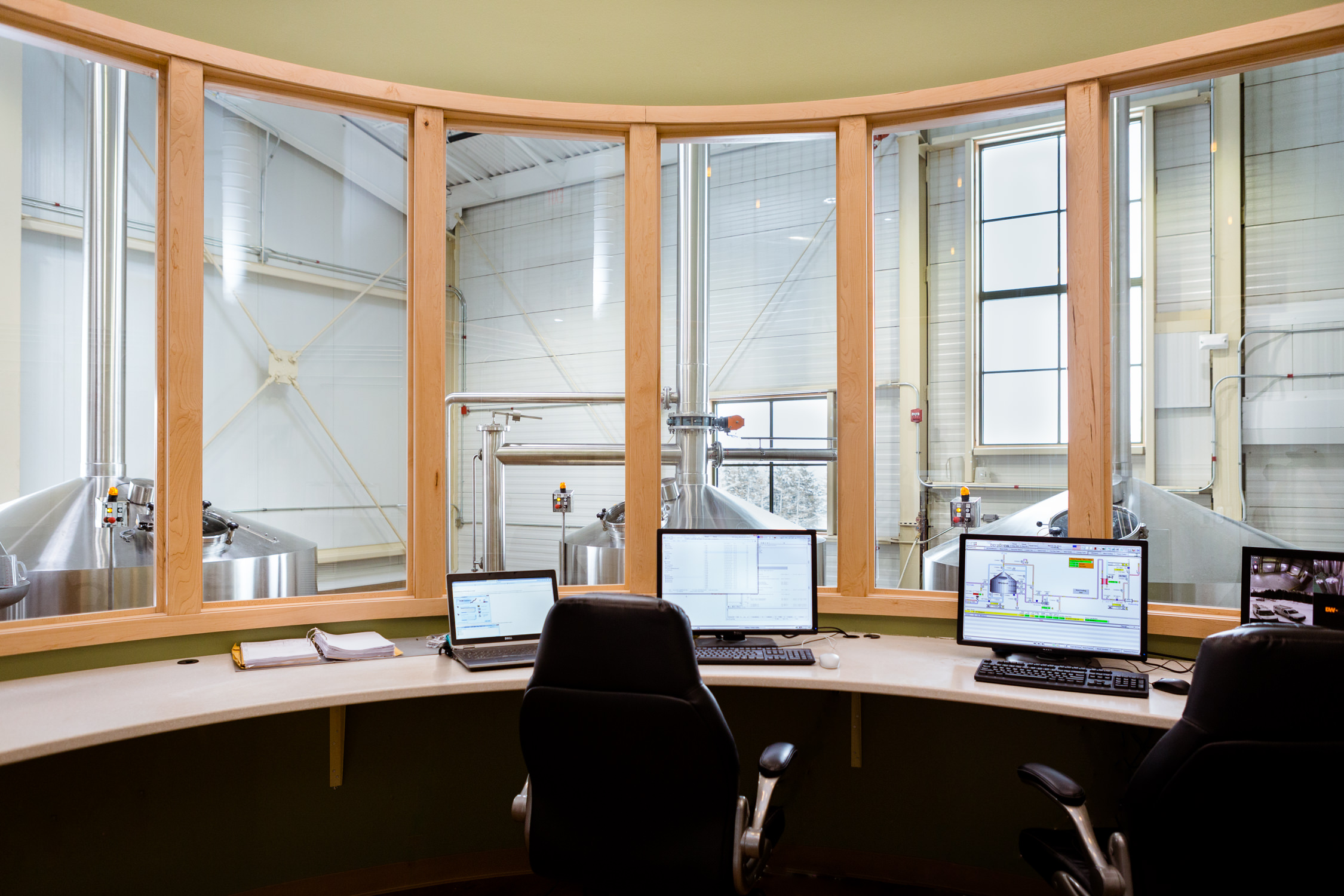 Vermont architecture photographer Stina Booth of Studio SB photo of control room in the Trapp Lager Brewery built by Neagley & Chase Construction Company