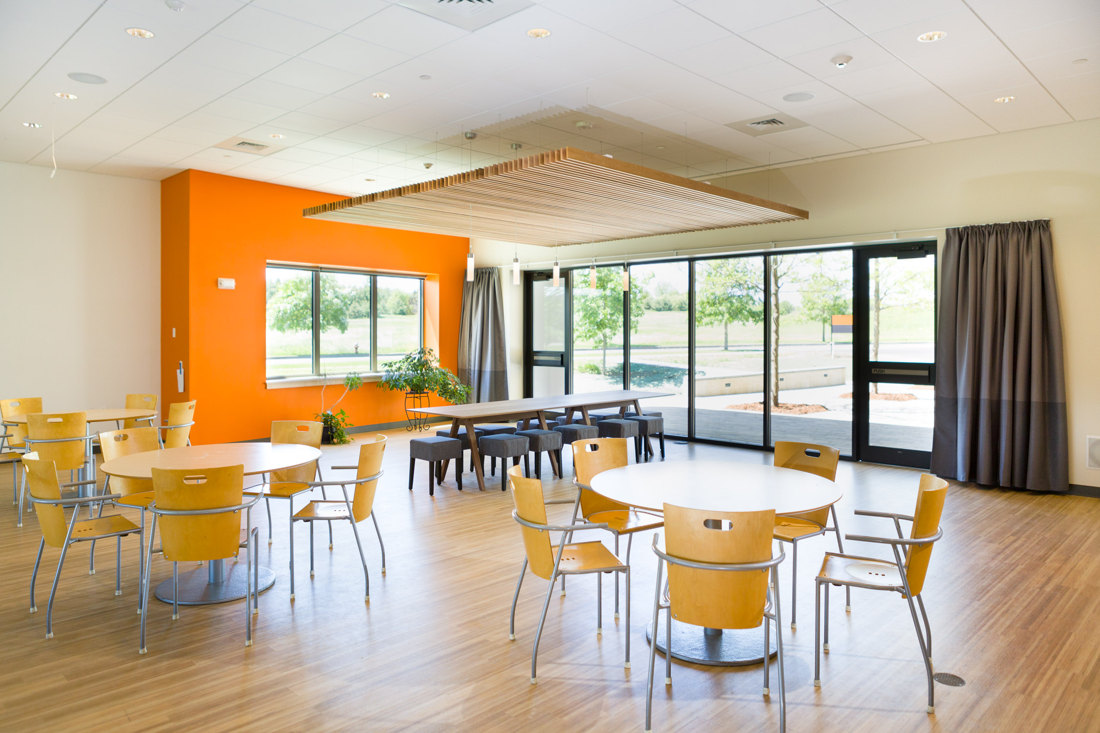 Photo of cafeteria in Logic Supply building addition for Neagley & Chase Construction Company by Vermont architecture photographer Stina Booth of Studio SB.