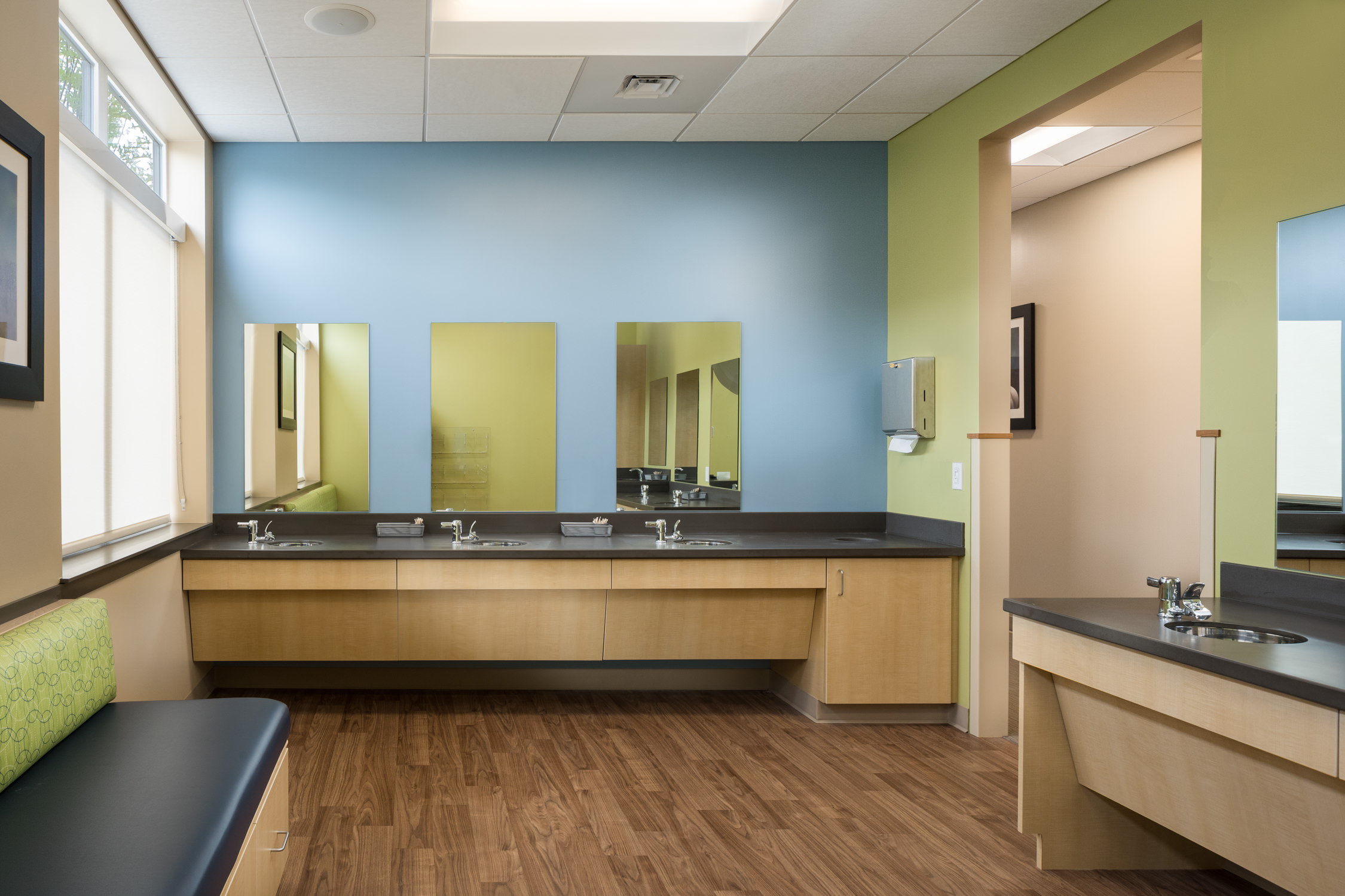 Photo of the children's brushing room at Timberlane Dental in Essex Vermont by professional photographer Stina Booth