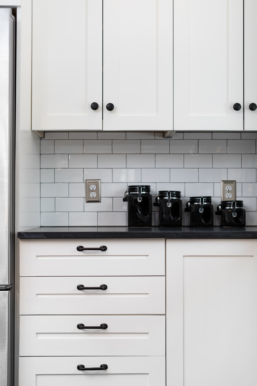 Photo of recessed panel cabinets in a Vermont kitchen remodel taken by Vermont photographer Stina Booth