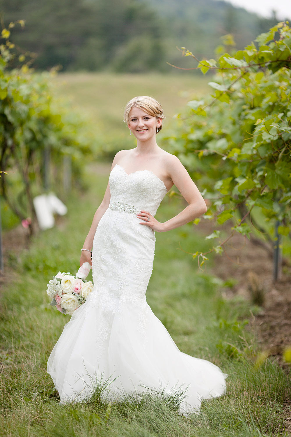 Photo of a bride posing in a vineyard after a summer wedding at the Barn at Boyden Farm by Vermont wedding photographer Stina Booth