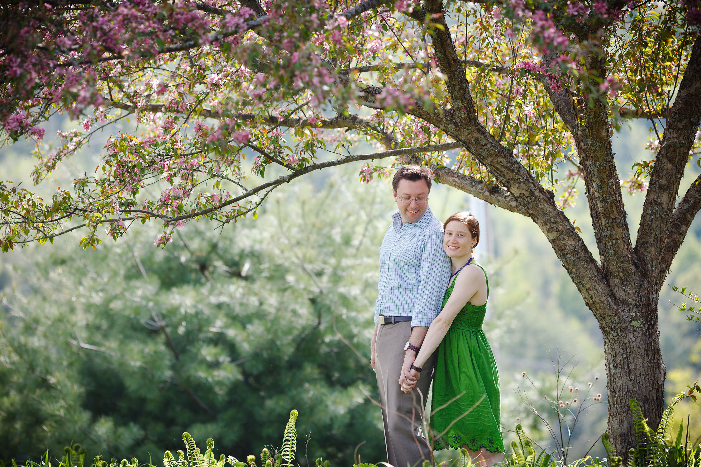 A couple poses under the pink blooms of an apple tree at the Karma Choling Meditation Center during an engagement session by Vermont wedding photographer Stina Booth