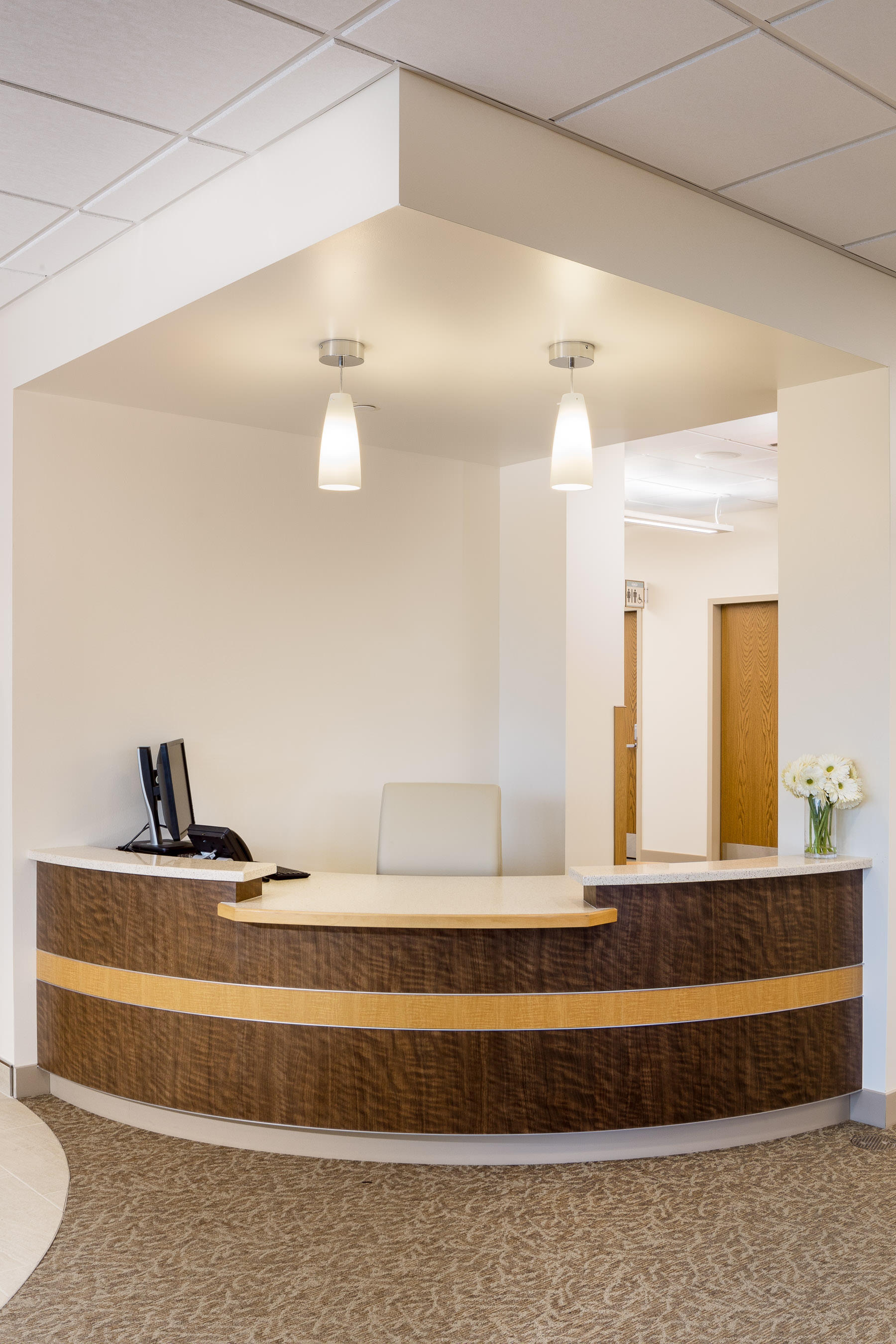 A photo of the lobby kiosk in Northwestern Medical Center's Medical Office Building in St. Albans Vermont by professional photographer Stina Booth