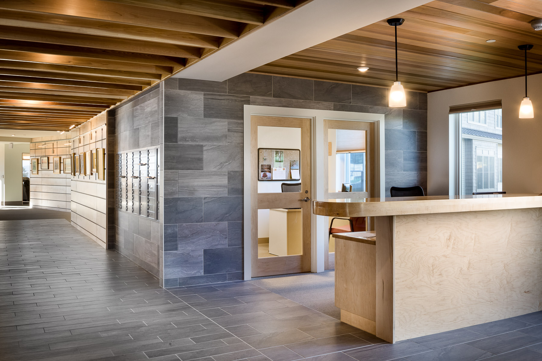 Architectural photo of the main lobby in the Strode Independent Living Facility in Randolph by Vermont commercial photographer Stina Booth
