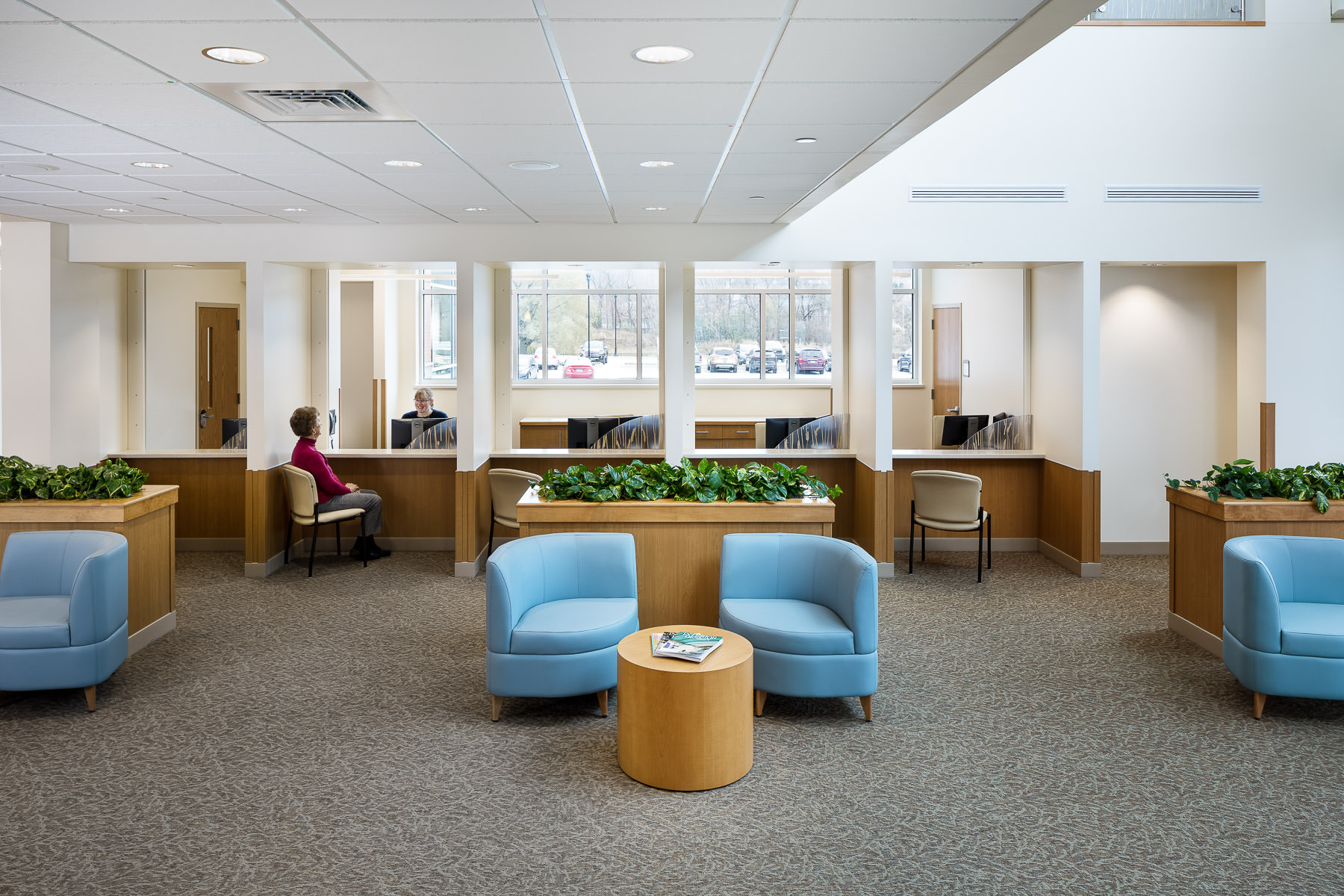 A photo of the lobby in Northwestern Medical Center's Medical Office Building in St. Albans Vermont by professional photographer Stina Booth
