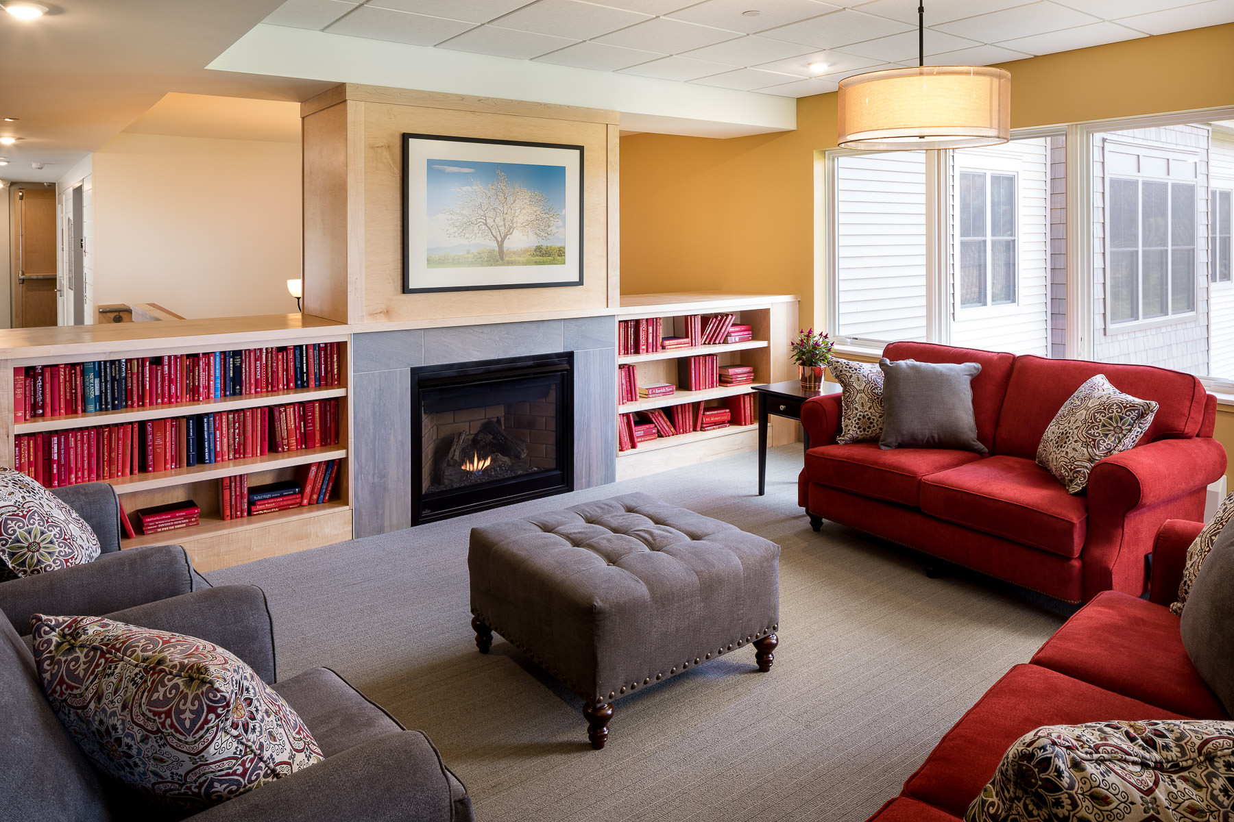 Architectural photo of the community living room in the Strode Independent Living Facility in Randolph by Vermont commercial photographer Stina Booth