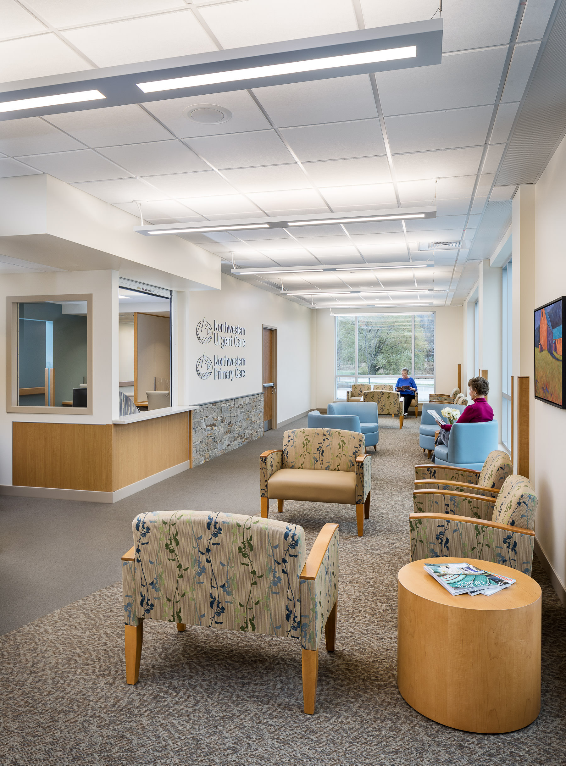 A photo of the patient waiting area in Northwestern Medical Center's Medical Office Building in St. Albans Vermont by professional photographer Stina Booth