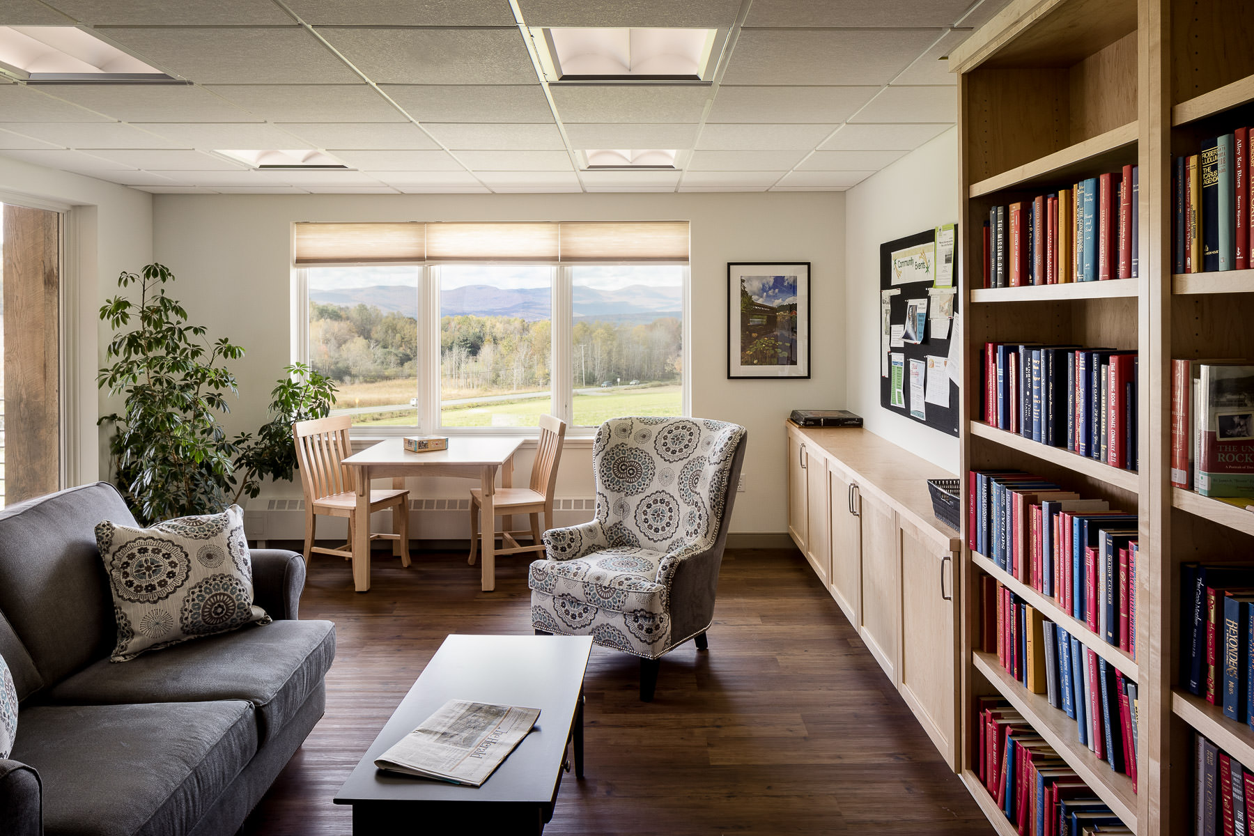 Architectural photo of the community library in the Strode Independent Living Facility in Randolph by Vermont commercial photographer Stina Booth