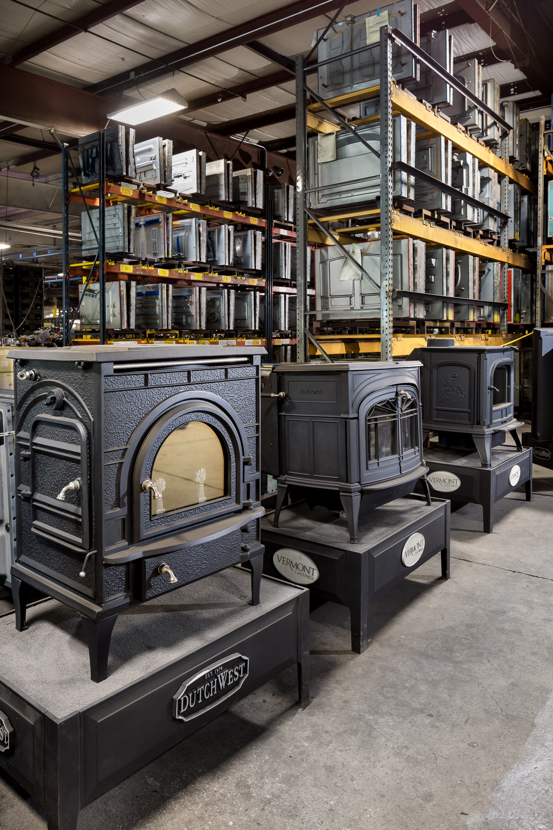 An interior photo of the cast storage space at the Vermont Castings manufacturing facility built by Neagley & Chase Construction and photographed by Stina Booth