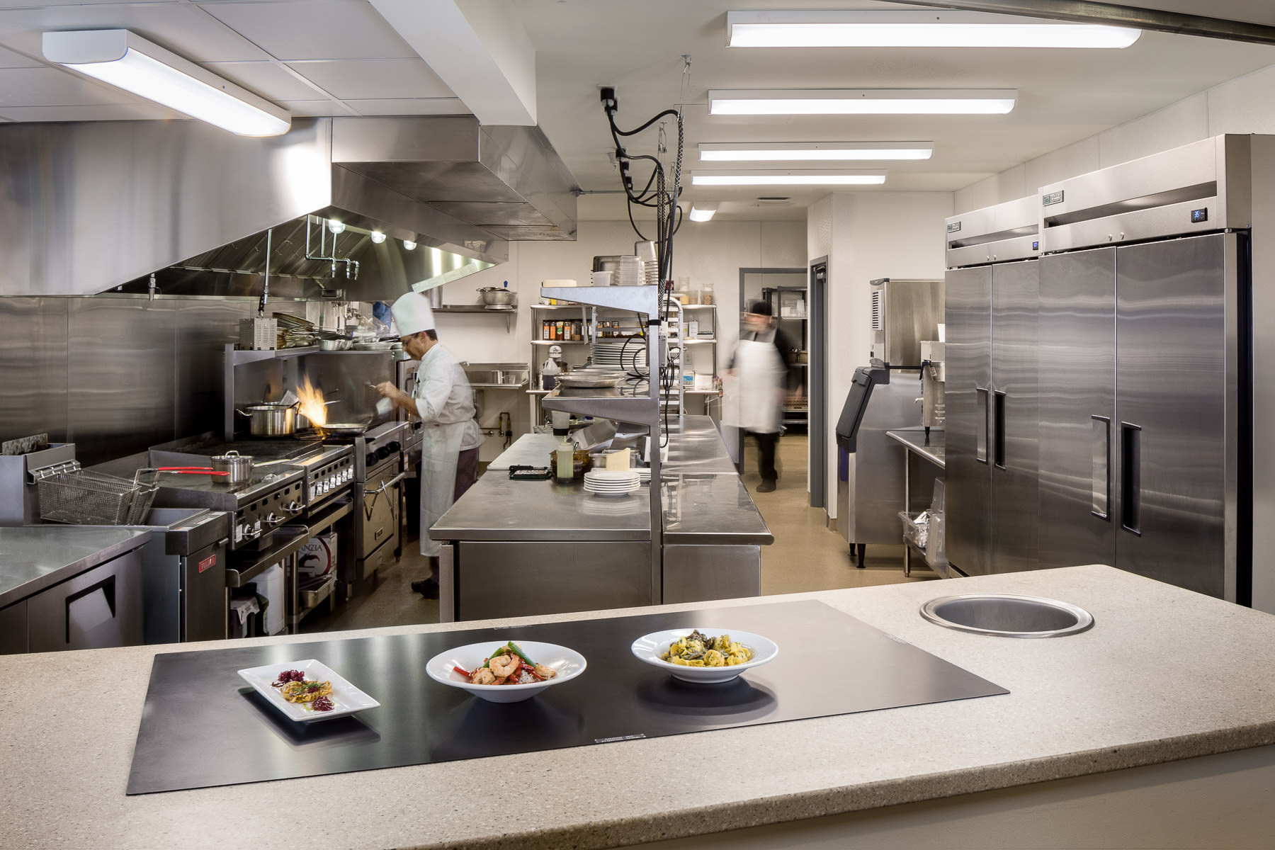 Photo of the full commercial kitchen in the Strode Independent Living Facility in Randolph by Vermont commercial photographer Stina Booth