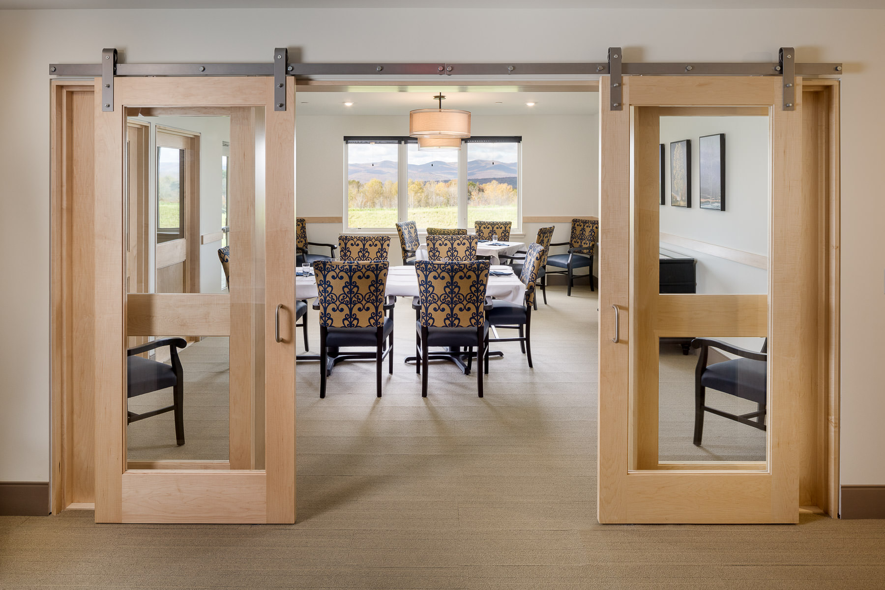 photo of the private dining room in the Strode Independent Living Facility in Randolph by Vermont commercial photographer Stina Booth