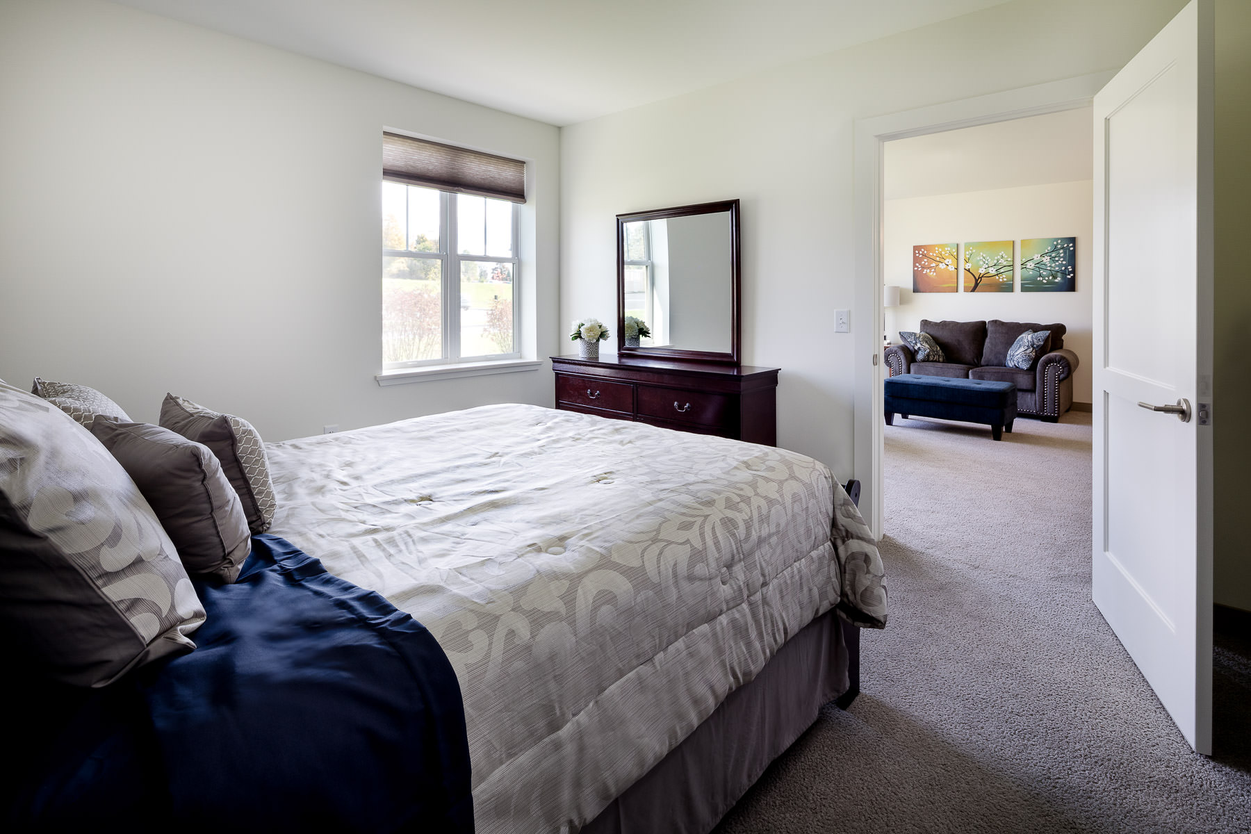 A single bedroom unit in the Strode Independent Living Facility in Randolph by Vermont commercial photographer Stina Booth