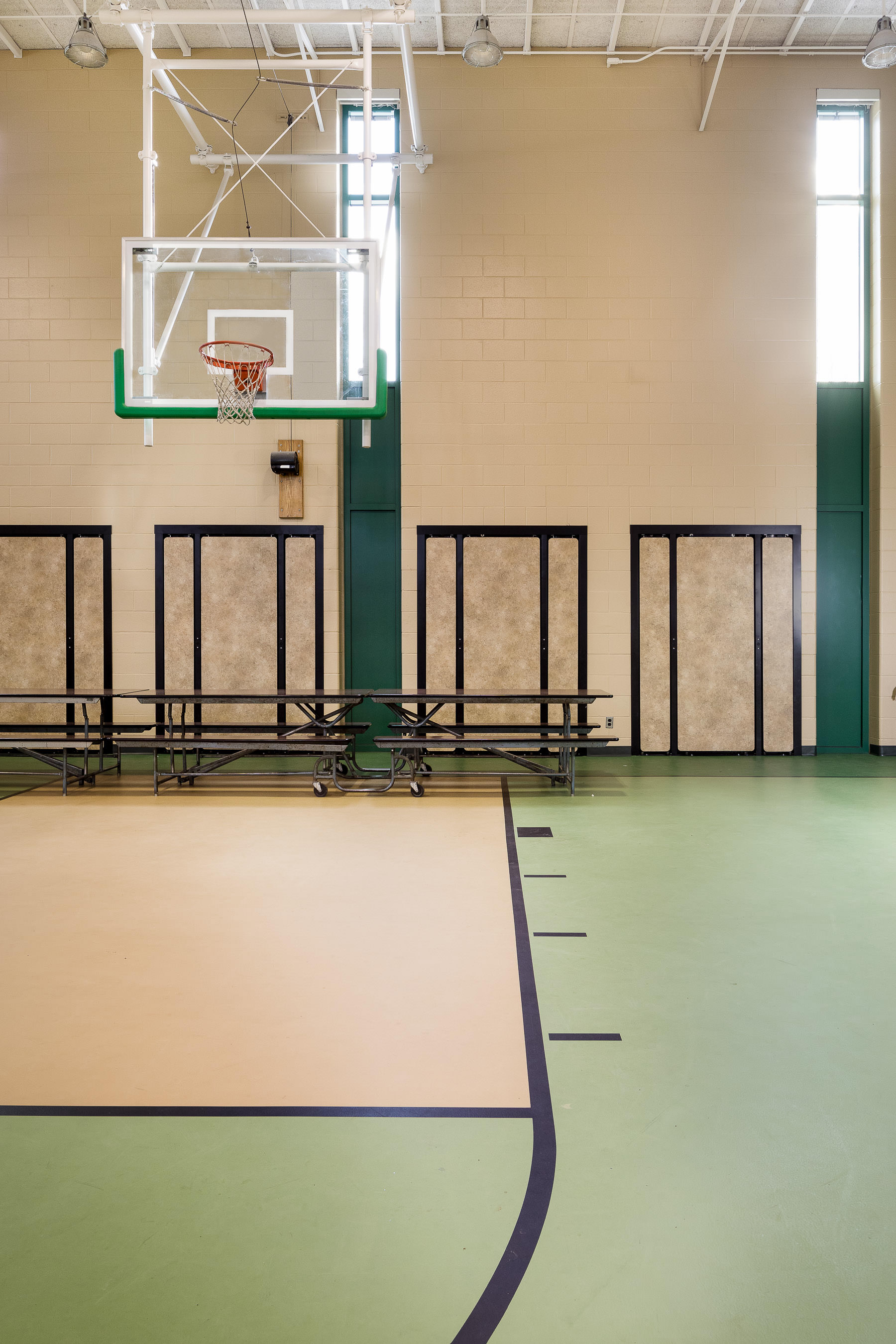 A photo of the renovated gymnasium at Berlin Elementary school photographed by Vermont professional photographer Stina Booth