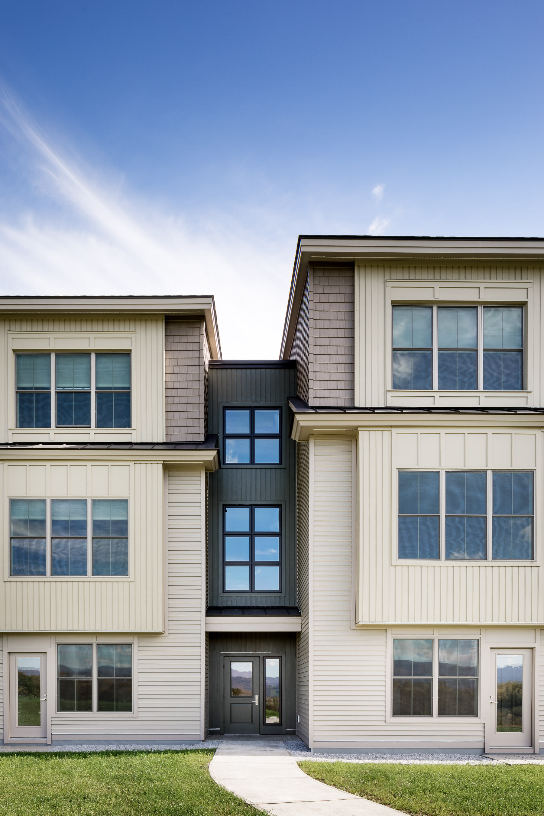 A straight facade view of the western exterior of the Strode Independent Living Facility in Randolph by Vermont commercial photographer Stina Booth