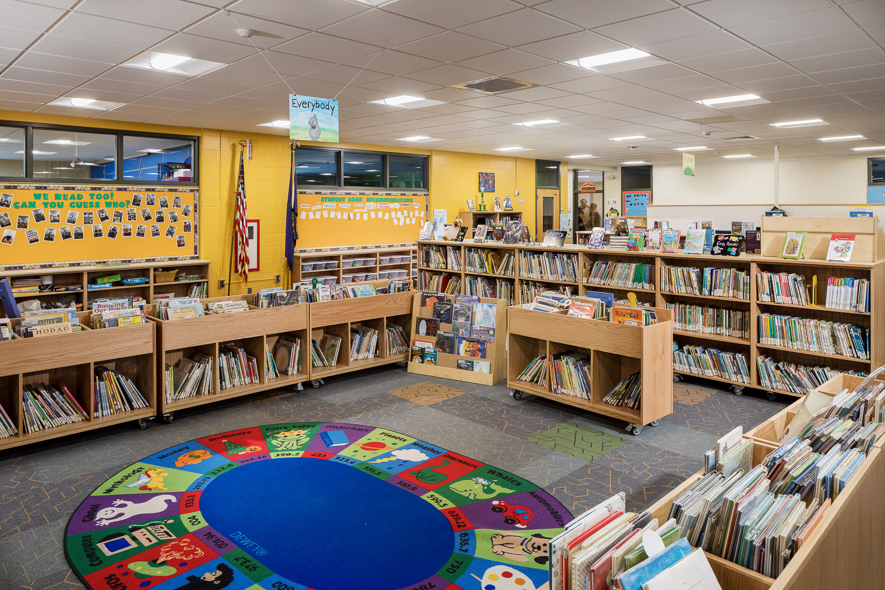 A photo of the renovated library at Berlin Elementary school photographed by Vermont professional photographer Stina Booth