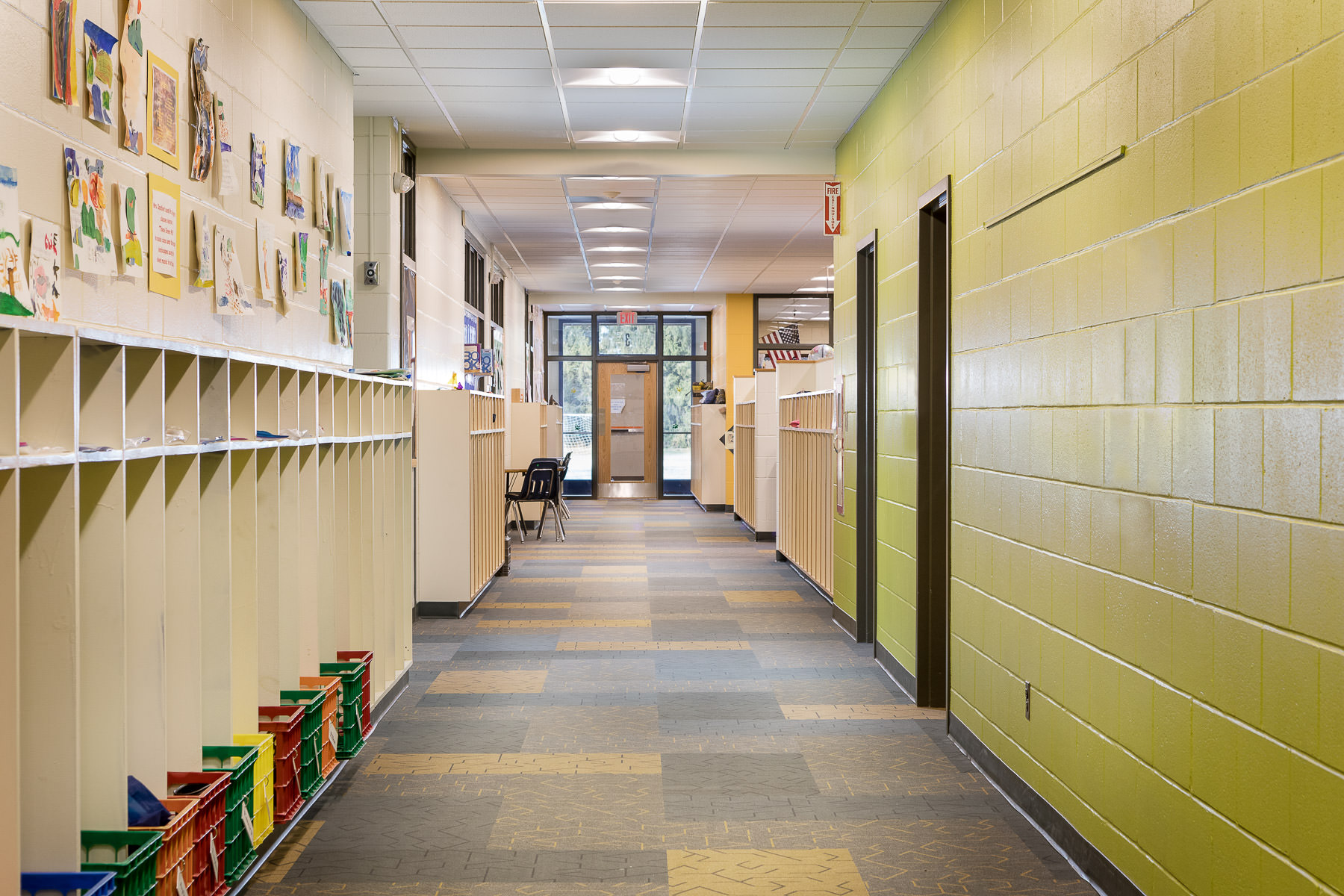 A photo of a classroom hallway at Berlin Elementary school photographed by Vermont professional photographer Stina Booth